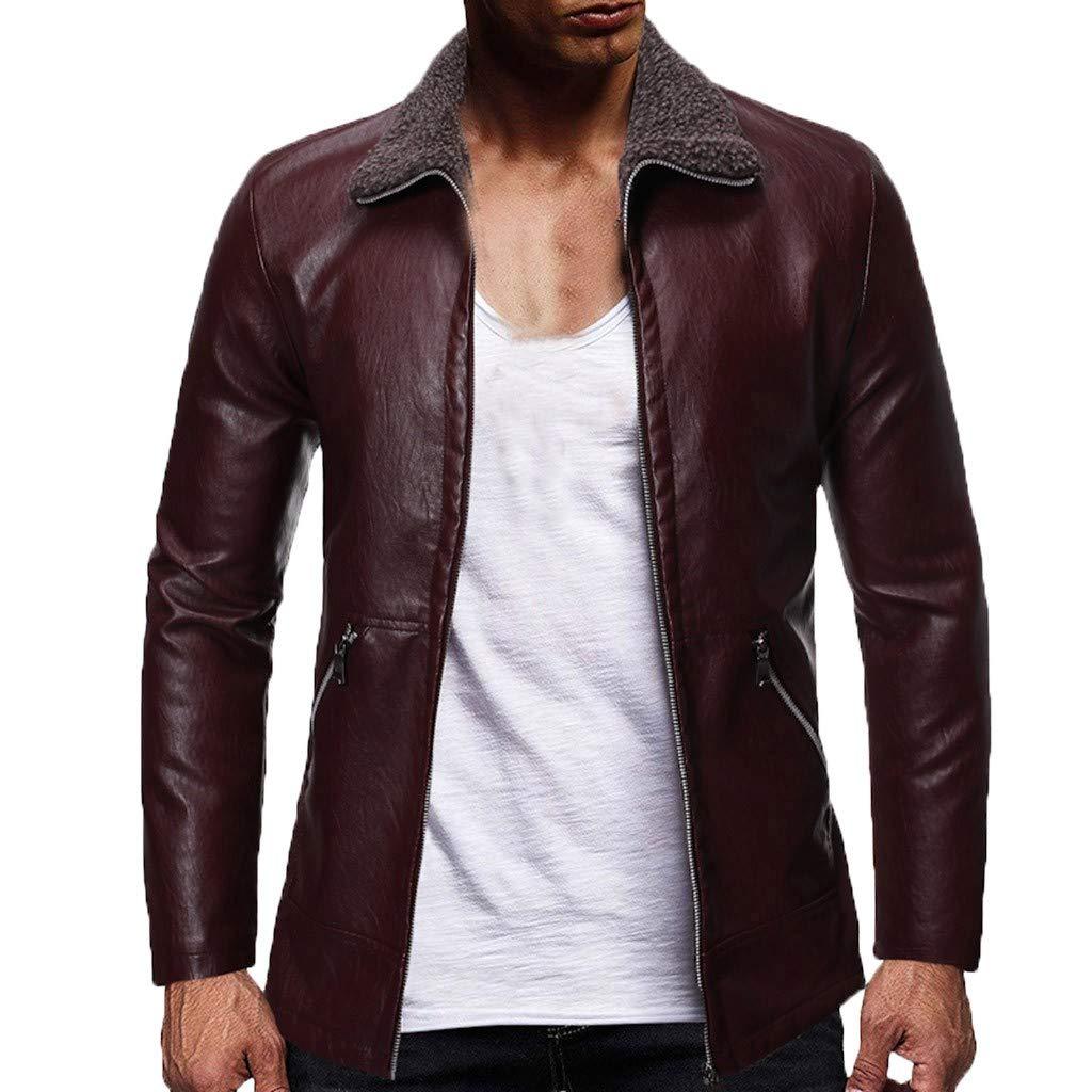 kemilove Mens Black Leather Jacket   Real Lambskin Motorcycle Jackets & Coat