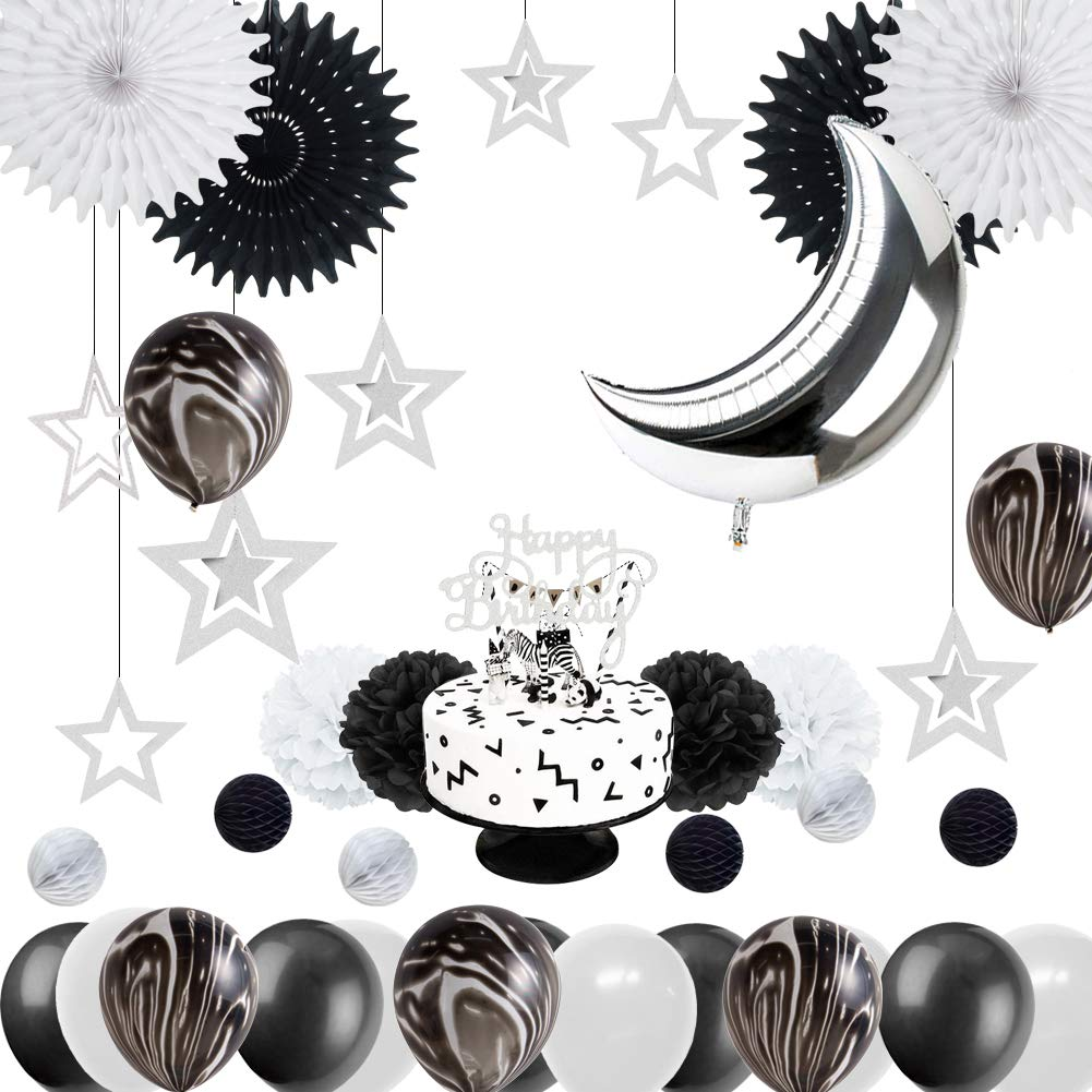 Amazon Monochrome Safari 1st Birthday Party Decoration Black White Marble Balloons Silver Moon Balloon Space Themed Baby Shower Supplies Easy