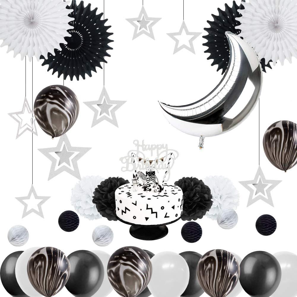 Easy Joy Fiesta de Cumplea/ños Aniversario Baby Shower Decoraci/ón Chic Globo en Forma de La Luna Happy Birthday Torta de Cumplea/ños Estrella para La Habitaci/ón de Los Ni/ños y Ni/ñas