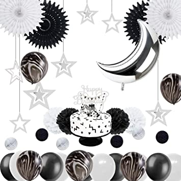 Easy Joy Geburtstag Deko Set Silber Laterne Folie Luftballons Mond