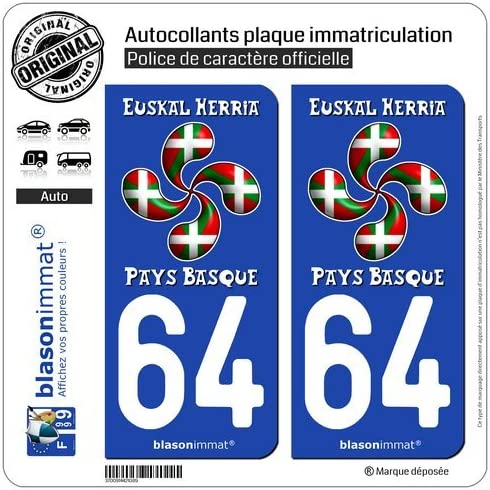 Lauburu Drap/é blasonimmat 2 Autocollants Plaque immatriculation Auto 64 Pays Basque
