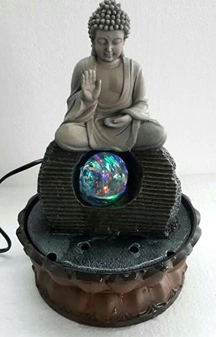 Ez Life Fengshui Water Fountains - Buddha Blessings With Crystal Ball & Led Light