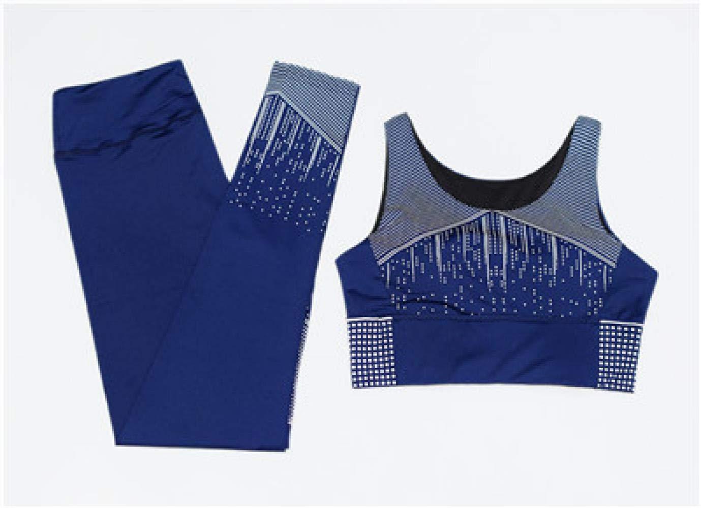 YANGCONG Yoga Fitness Bekleidung Frauen Yoga Set Weste + Strumpfhose Sportbekleidung Gym Sport BH Hosen Fitness Sport Anzug Laufbekleidung 2 STÜCKE dunkelblau M