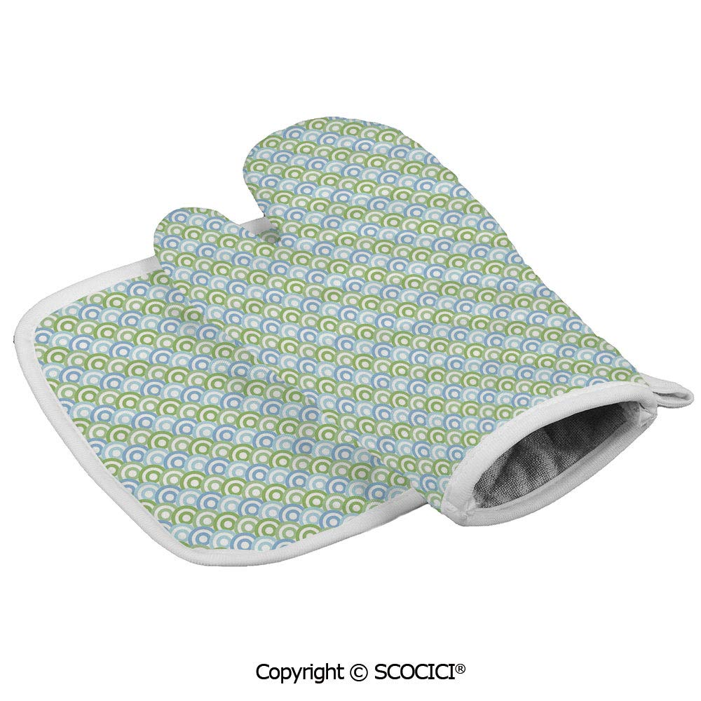 SCOCICI Oven Mitts Glove - 60s 70s Home Decor Inspired Half Rounds Inner Shapes Image Heat Resistant, Handle Hot Oven Cooking Items Safely