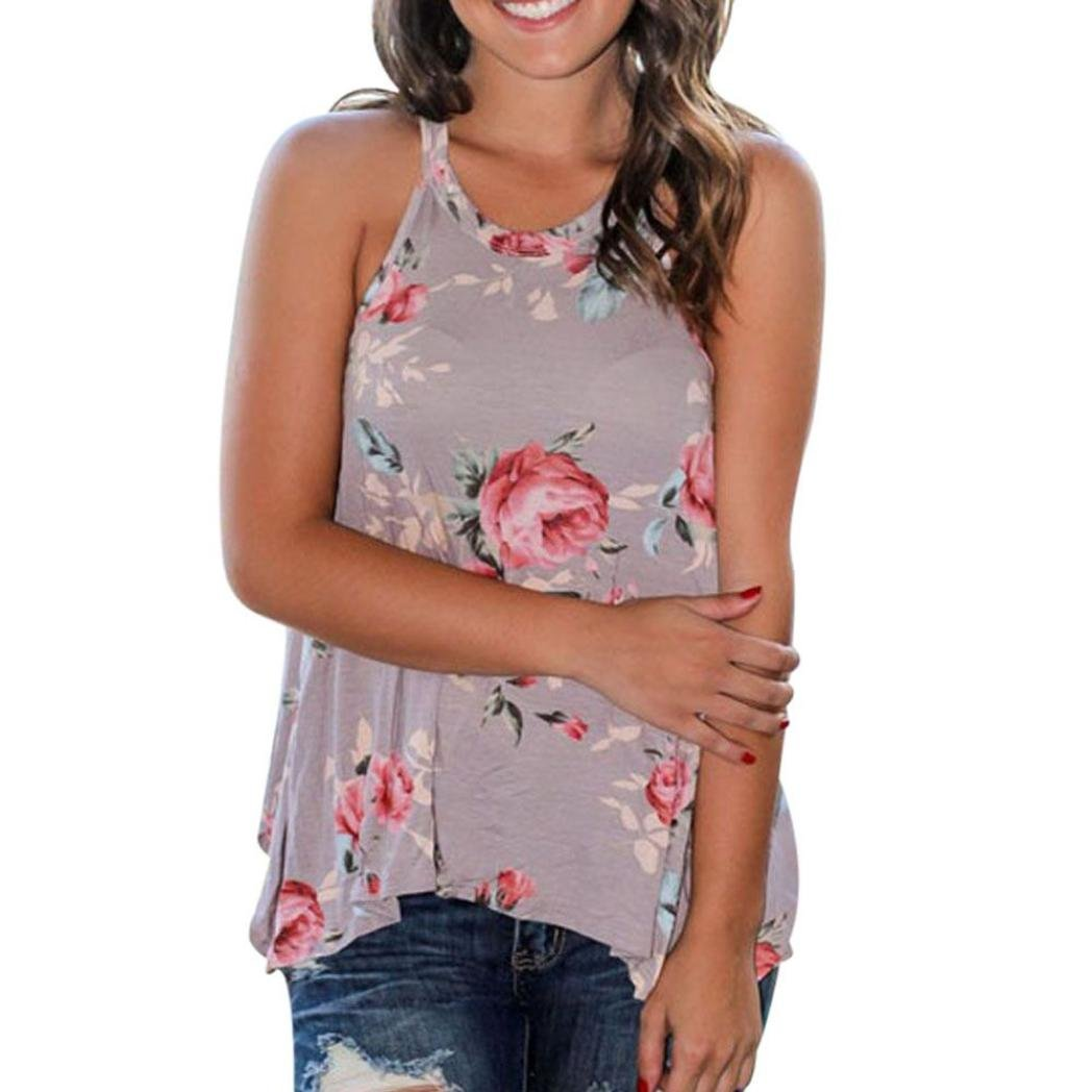 Gillberry Womens Halter Neck Floral Printed Tank Tops Casual Blouse T Shirt WY5462