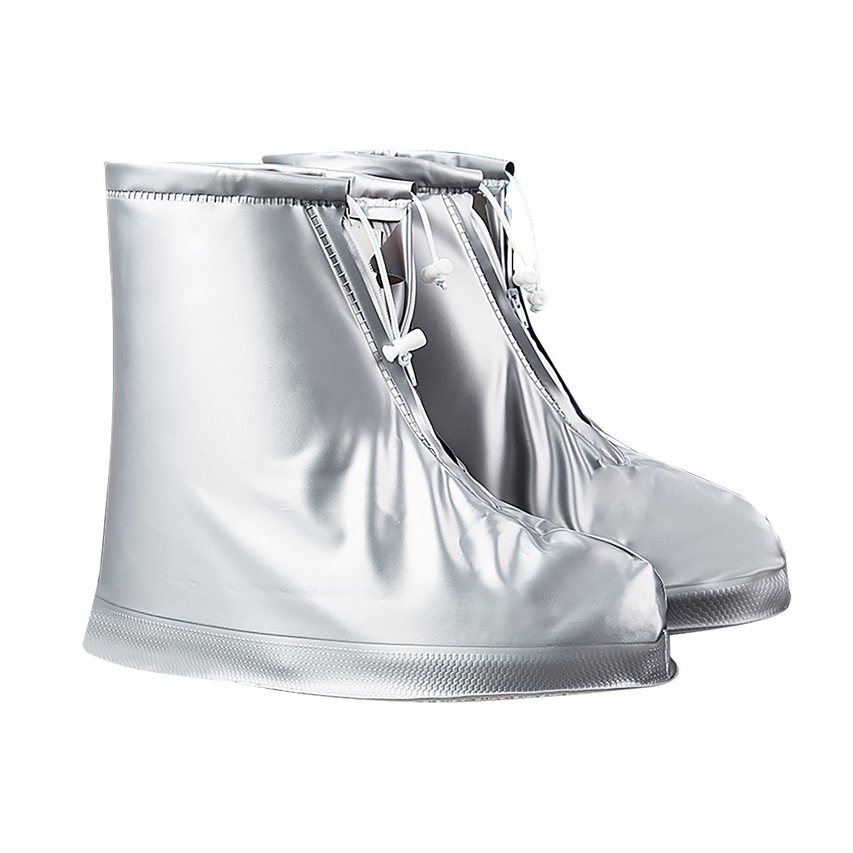 Silver-gray Men and Women Rain Boots Set Rainy Outdoor Rain Boots Travel Spare Waterproof Shoe Cover Easy to Carry L 28.5cm-1 Double