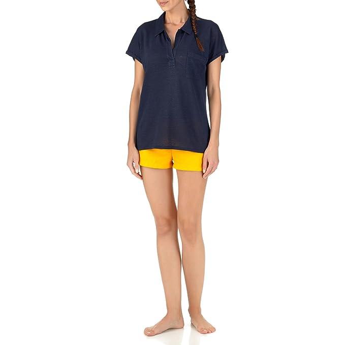 7e4b0d9bdbe9 Vilebrequin Polo in Jersey di Lino a Tinta Unita - Donna - XL - Blu Marine   Amazon.it  Abbigliamento
