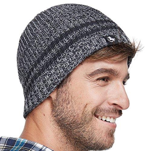LETHMIK Merino Wool Skull Beanie,Mens Daily Warm Soft Winter Hat Stripe Mix Knit Cap Dark Grey