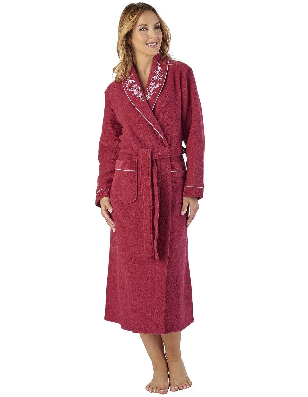 TALLA L. Slenderella HC2328 Women's Boucle Fleece Floral Robe Loungewear Bath Dressing Gown