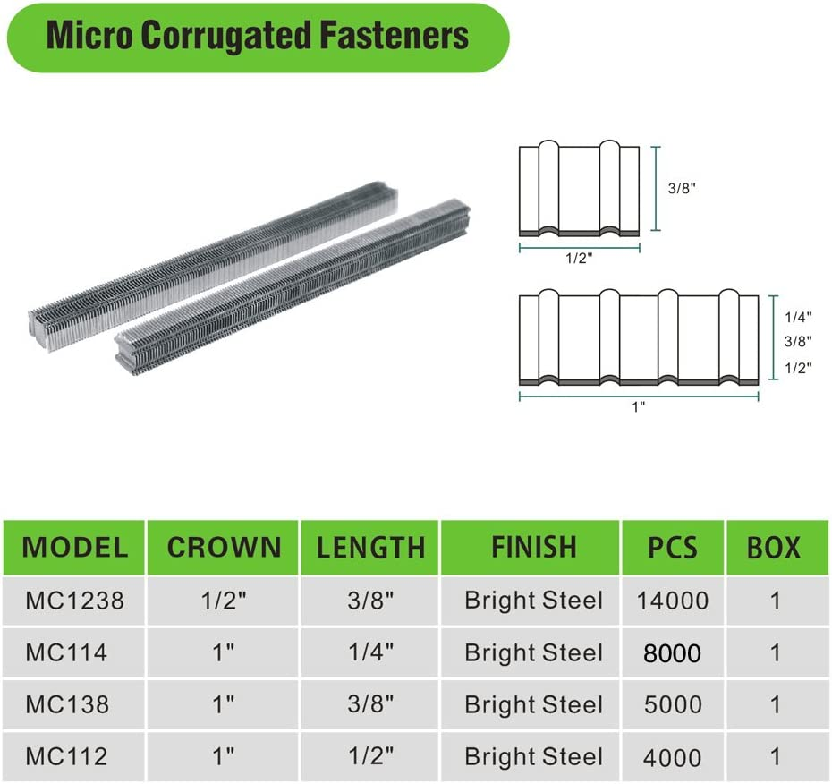 meite MC114 25 Gauge 1-Inch Crown 1//4-Inch Long Corrugated W Fastener Staples or Corrugated Fasteners 1 Small Pack