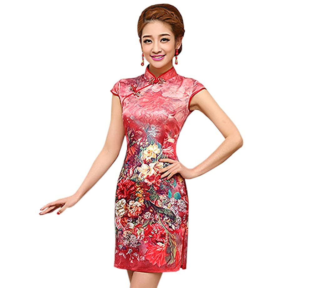 YueLian Women's Floral Printing Faux Silk Chinese Short Qipao Dress
