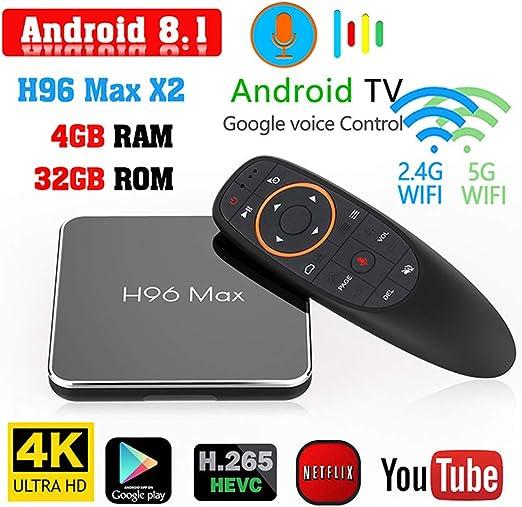 Android TV Box 8,1, versión de Voz H96 MAX x2 S905X2 TV Box 4GB +