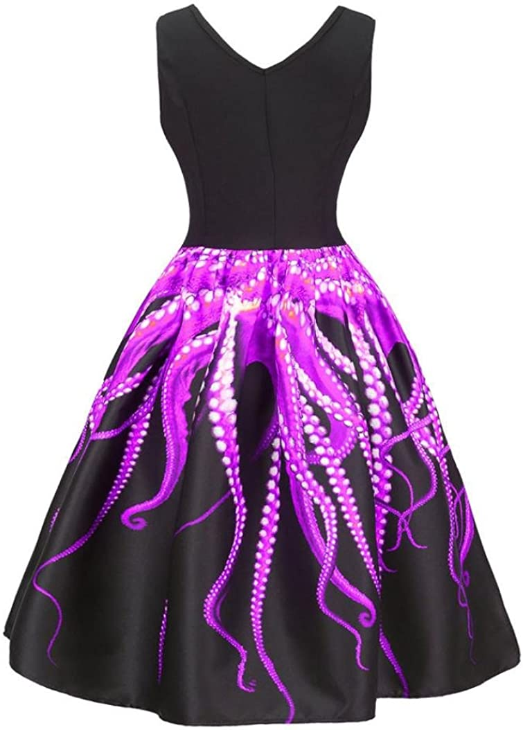 Minisoya Women Octopus Printed Flare A-line Dress Sleeveless Casual Vintage Cocktail Evening Party Prom Swing Dress