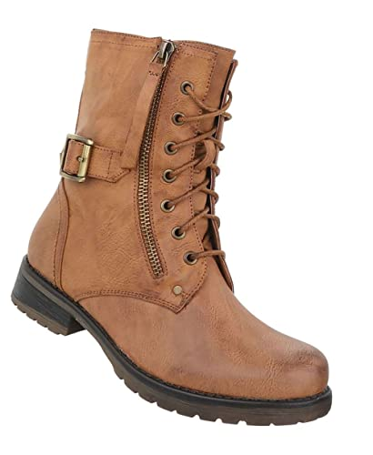 Damen Schuhe Stiefeletten Schnürer Used Optik Boots Camel 36  Amazon.de   Schuhe   Handtaschen 8e39855c51