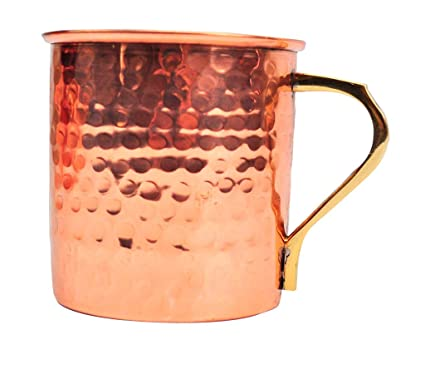 100% Pure Copper 16 Oz Mug with brass handle for Moscow Mule Vodka,Gin, Ginger Beer Glassware & Drinkware at amazon