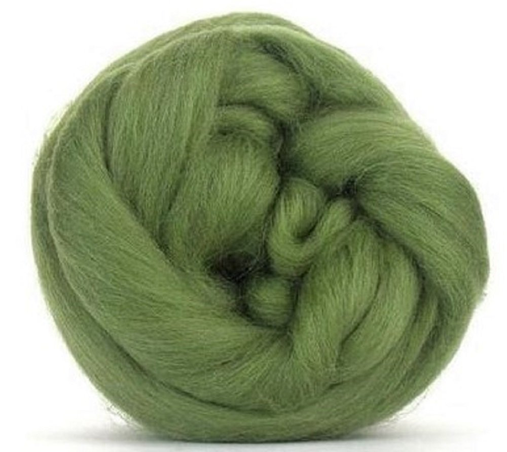 4 oz Paradise Fibers 64 Count Dyed Olive (Green) Merino Top Spinning Fiber Luxuriously Soft Wool Top Roving for Spinning with Spindle Or Wheel, Felting, Blending and Weaving