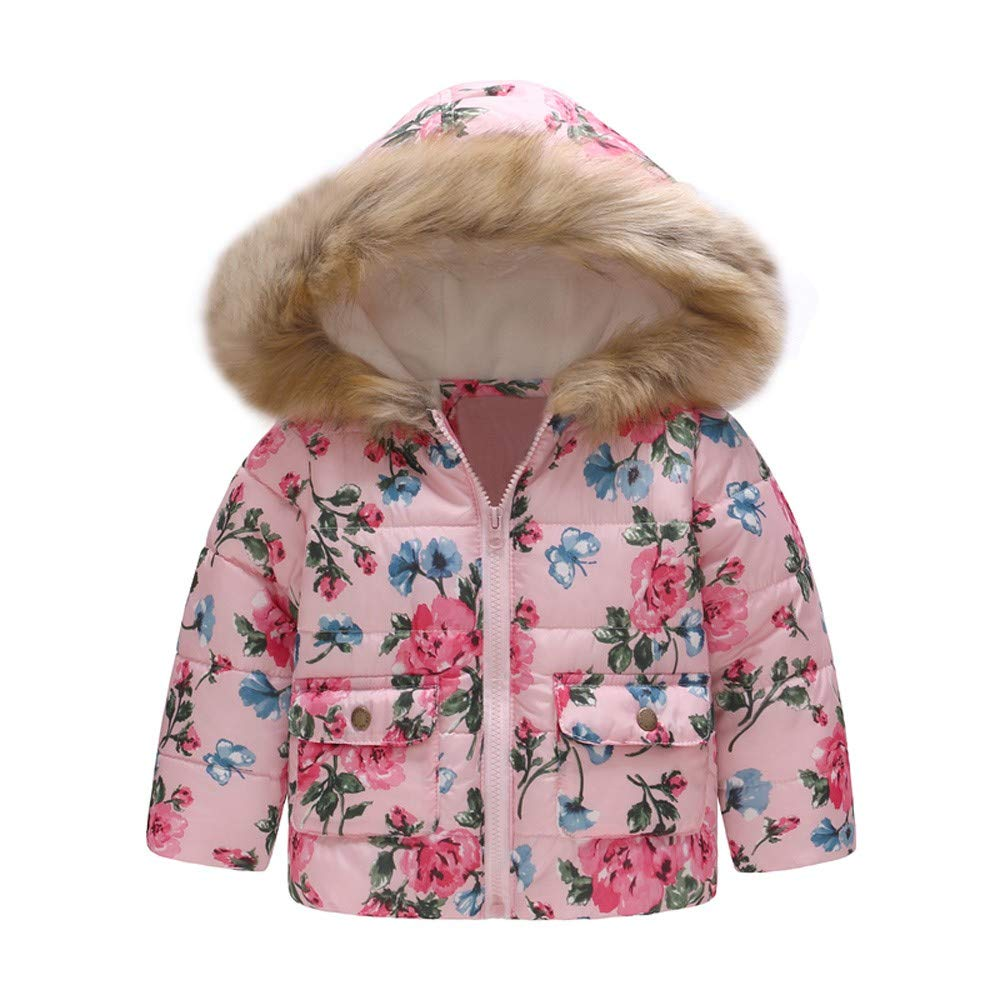 Lurryly❤Girls Boys Toddler Kids Floral Warm Winter Coat Jacket Outerwear Hooded Tops 1-6T