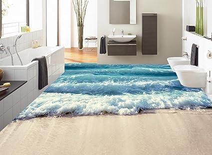 Carta Da Parati Adesiva Bagno : Lqwx custom 3d piano oceano onde wallpaper 3d bagno al piano auto