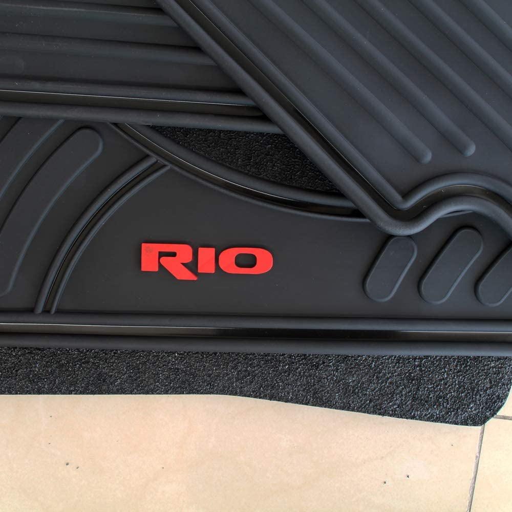 CFMBX1KI9205 Black Nylon Carpet Coverking Custom Fit Front and Rear Floor Mats for Select Kia Rioand Cinco Models
