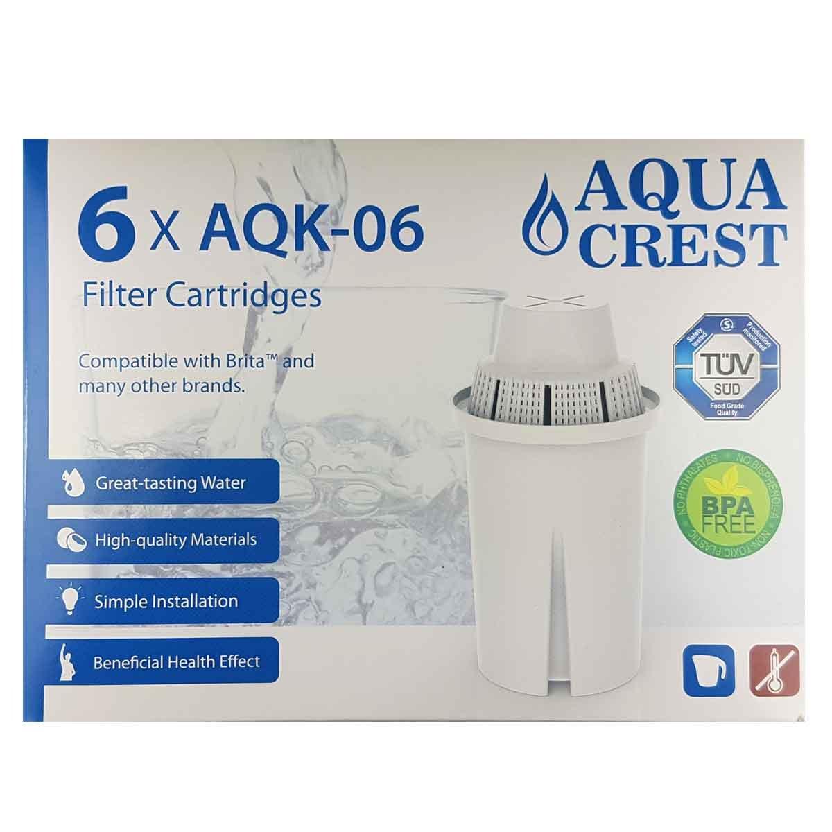 6 filtri - Aquacrest AQK06. 12 mesi di filtraggio per Brita Classic Sostituisce: Brita Classic, Laica MultiFlux, BWT Gourmet Mg²+, EasyFiltra+ Terraillon VYAIR