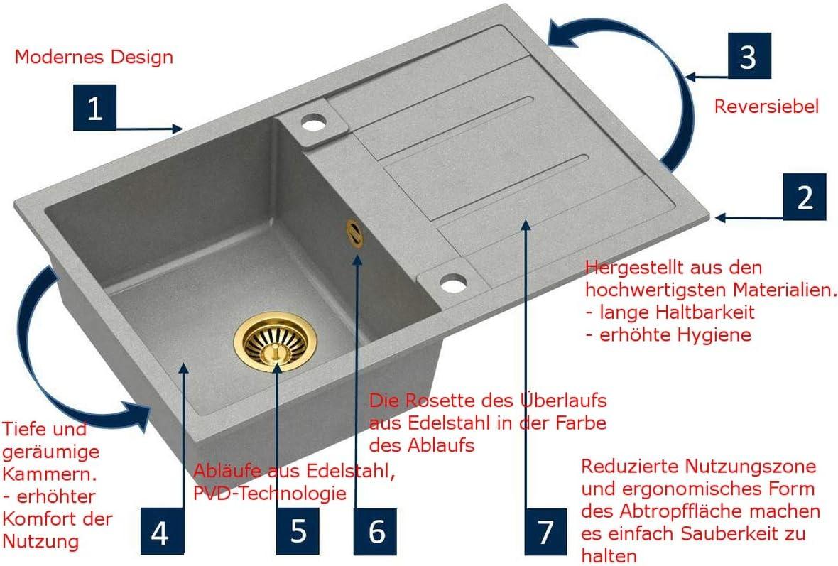 Edelstahlsp/üle Einbausp/üle 1 Becken Ovalsp/üle 78 x 48cm Aufbausp/üle Sp/ülbecken Sp/üle K/üchensp/üle rechteckig