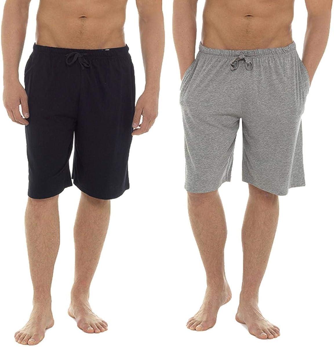 Keanu Mens 2 Pack Lounge Shorts Cotton Pyjama Short Trouser Bottoms Jersey Night Wear Summer Sizes M-3XL