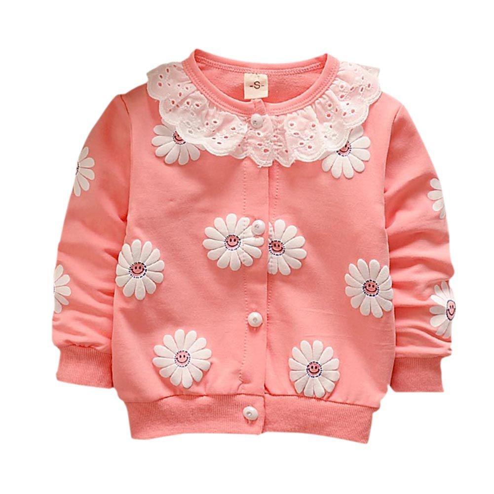 Loveble Little Girls Thin Coat Cardigan Long Sleeve Flowers Spring Autumn Jacket
