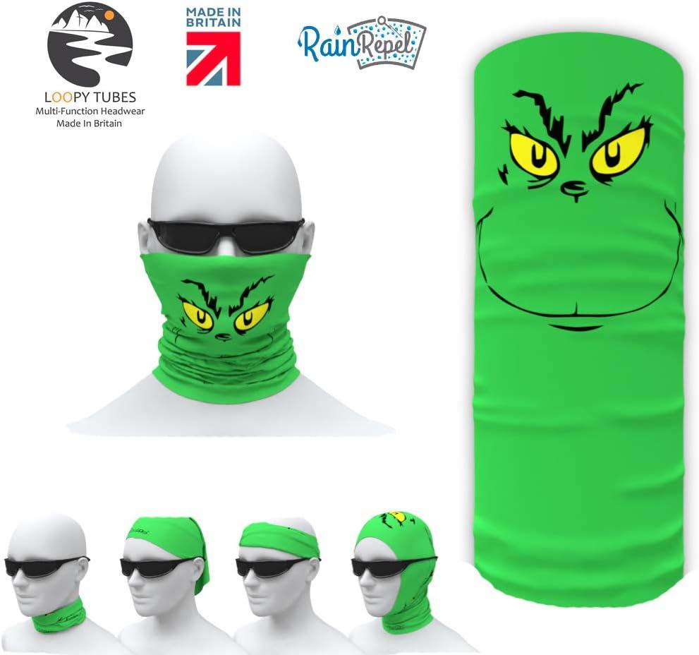 Multi-Functional Headwear//Bandana//Neck Gaiter//Neck Warmer UK Made. Loopy Tubes Grinch Face Design Face Shield