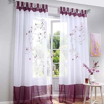 Souarts Stickerei Gardine Vorhang mit Schlaufen Transparent Schlaufenschal  für Wohnzimmer Schlafzimmer Studierzimmer Blumen-1er/Blätter-2er