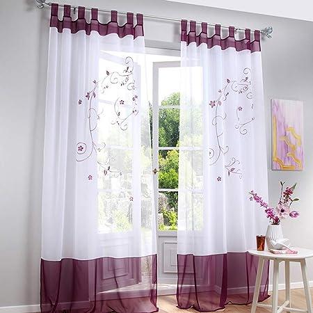 Souarts Stickerei Gardine Vorhang mit Schlaufen Transparent Schlaufenschal  für Wohnzimmer Schlafzimmer Studierzimmer Blumen 1er Lila 140cmx225cm