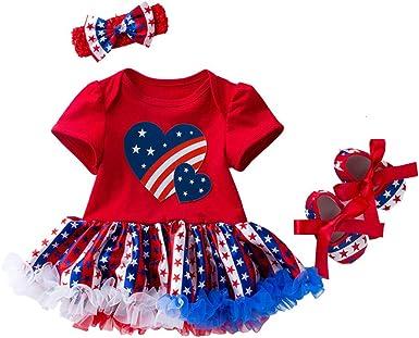 Infant Baby Girl My 1ST 4th of July Outfit Romper+Tutu Pants+Headband 3PCS SET C