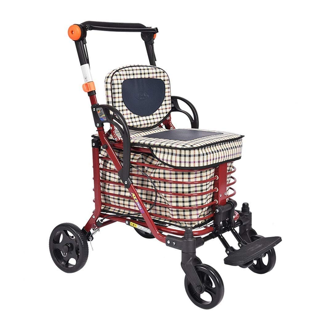 Rolling Walkers Shopping Cart Old Man Trolley Four-Wheeled Walker Folding Wheelchair Household Grocery Shopping Cart Mobility Aid for Elderly & Handicap PNYGJZXQ by PNYGJZXQ