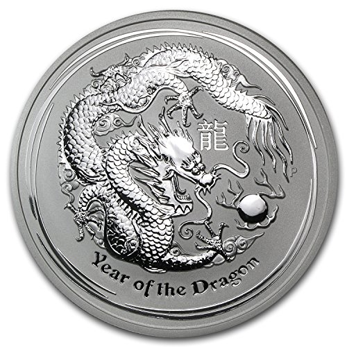 - 2012 AU Australia 5 oz Silver Year of the Dragon BU Silver Brilliant Uncirculated