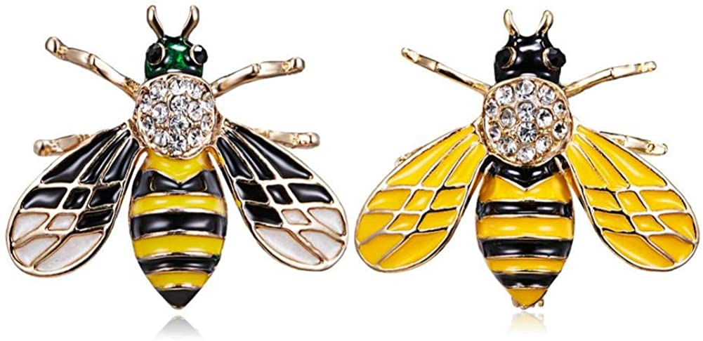 FHKVQOP 2pcs Bee Brooches Unisex Insect Brooch Pin Women and Men Jewelry Cute Small Badges Jewelry
