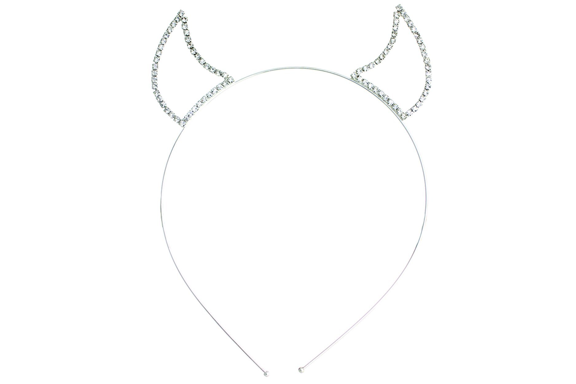 Rosemarie Collections Women's Rhinestone Devil Horns Headband (Silver Tone Clear) by Rosemarie Collections (Image #1)