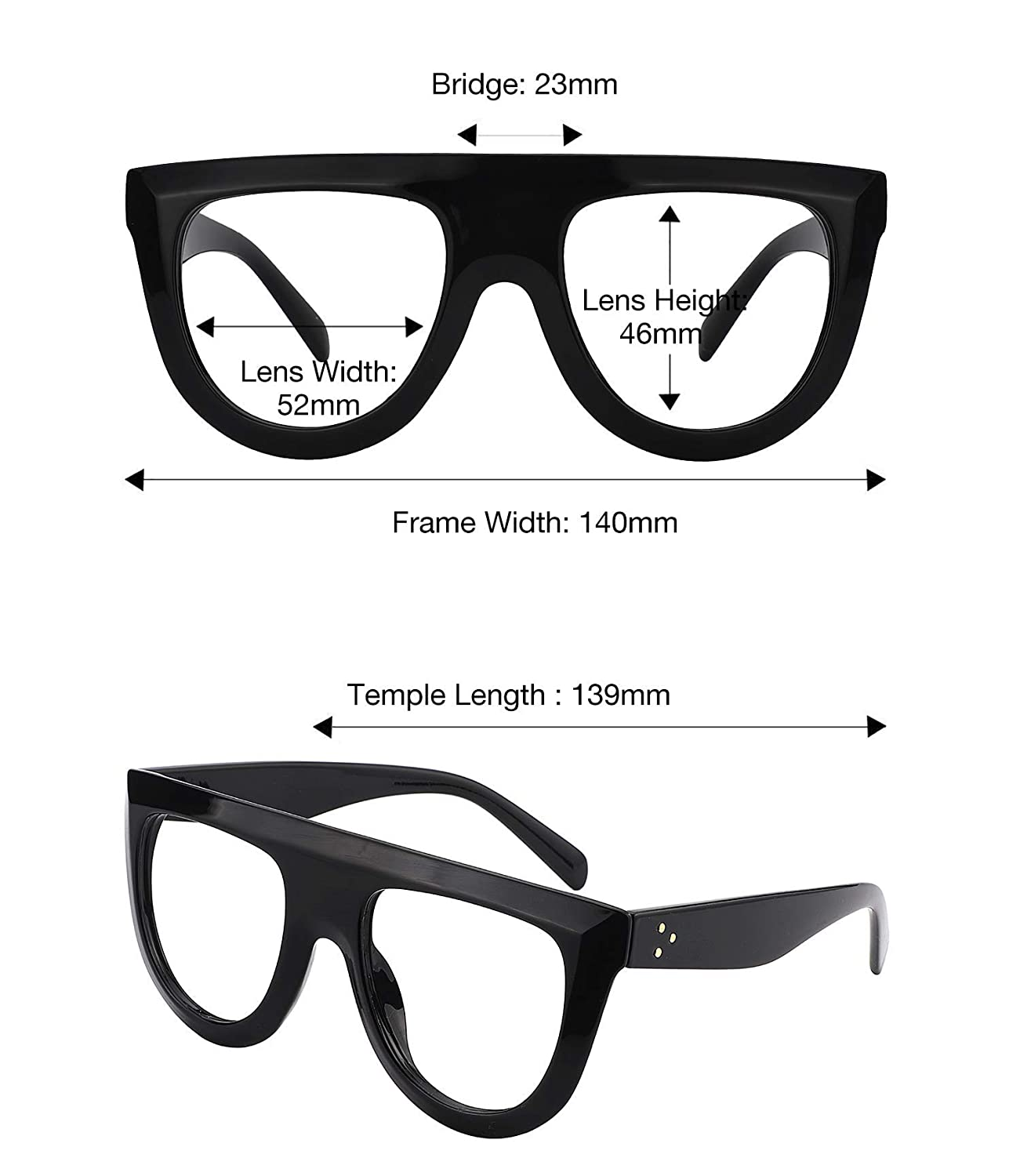 23c91de9d40 Amazon.com  Zeelool Fashion Thick Oversized Aviator Eyeglasses for Men  Non-prescription Black Eyewear Frame with Clear Lens Jules FP0334-01   Clothing