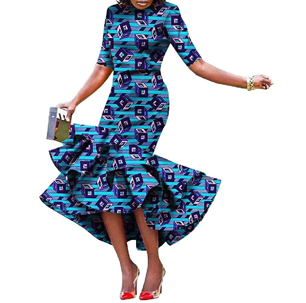 11 Cobama Womens Fishtail Floral African Print Bodycon Long Short Sleeve Dress