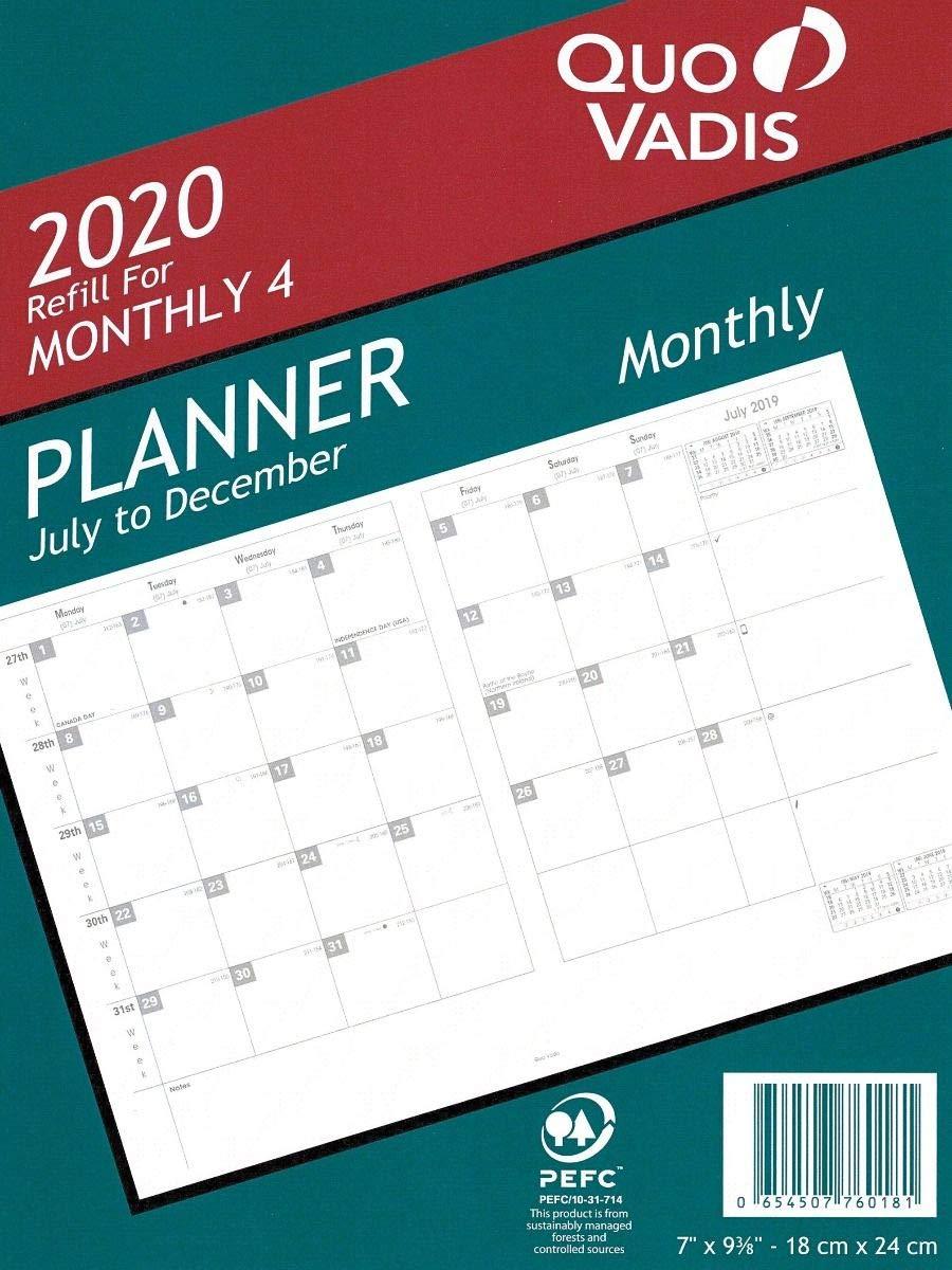 Amazon.com : Quo Vadis Monthly 4#76 Planner Refill 2019-2020 ...