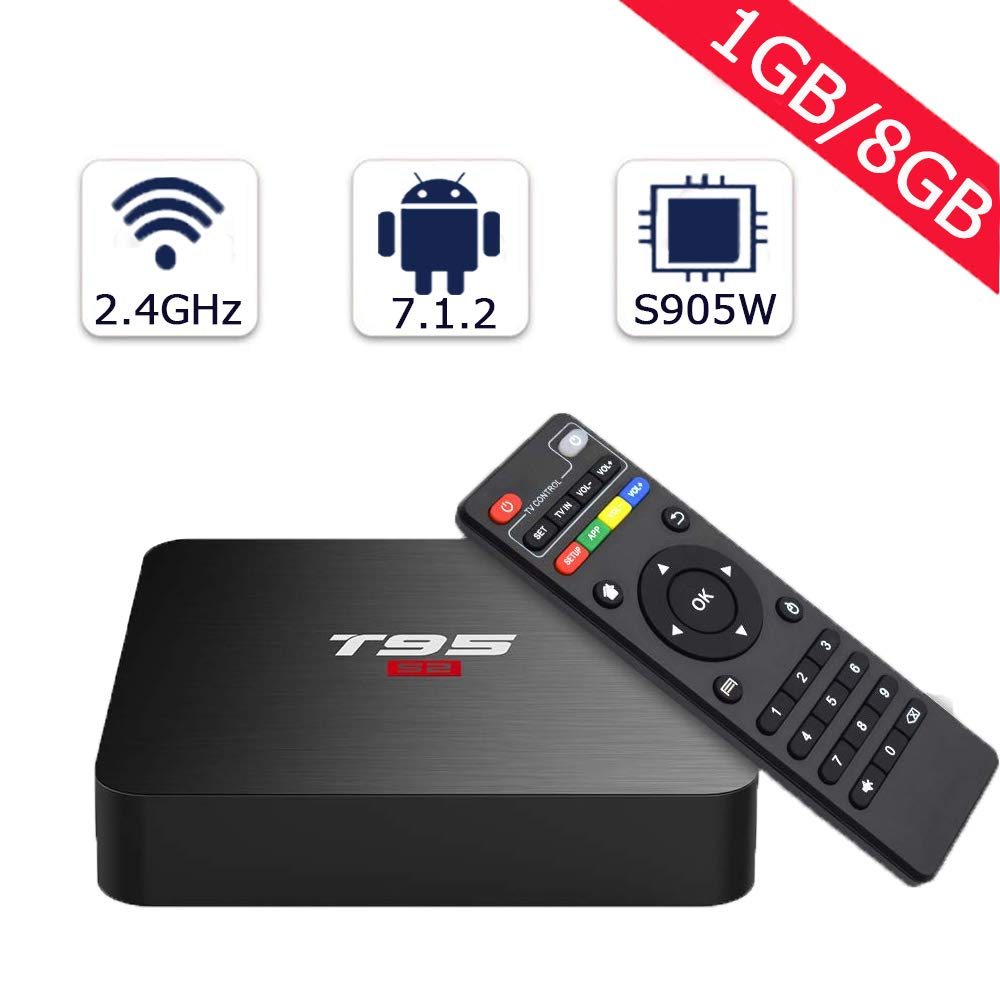 T95 Android TV Box with 1GB RAM 8GB ROM, 2019 Android Boxes Amlogic S905W Quad-Core support H.265 Decoding/4K Full HD/3D/2.4G WiFi T95S2 Smart TV Box