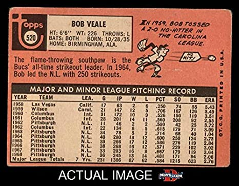 Amazon 1969 Topps 520 Bob Veale Pittsburgh Pirates Baseball Card Deans Cards 2