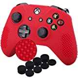 YoRHa Studded Silicone Cover Skin Case for Microsoft Xbox One X & Xbox One S Controller x 1(Red) With Pro Thumb Grips 8 Pieces (Color: red, Tamaño: Dots)