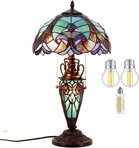 Stained Glass Table Lamp LED Bulb Included W12H22 Inch Antique Tiffany Style Green Liaison Night Light S160G WERFACTORY Lamps Lover Living Room Bedroom Dresser Bedside Coffee Desk Reading Art Gift
