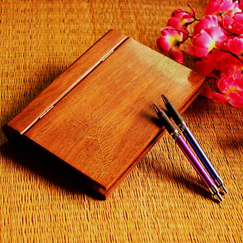 Hashcart Rosewood/Sheesham Wood A5 Paper Size Clip Board with Cover & Inlay Work - for Gift/Home Décor