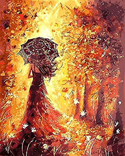 YEESAM ART DIY Paint by Numbers for Adults Beginner Kids, Girl's Back Under Umbrella, Golden Autumn Love 16x20 inch Linen Canvas Acrylic Stress Less Number Painting Gifts (Autumn Love, Without Frame)