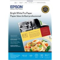 """Epson Bright White Paper S041586- Papel 8.5"""" x 11"""", Letter (215.9×279.4 mm), 500 hojas, color blanco"""
