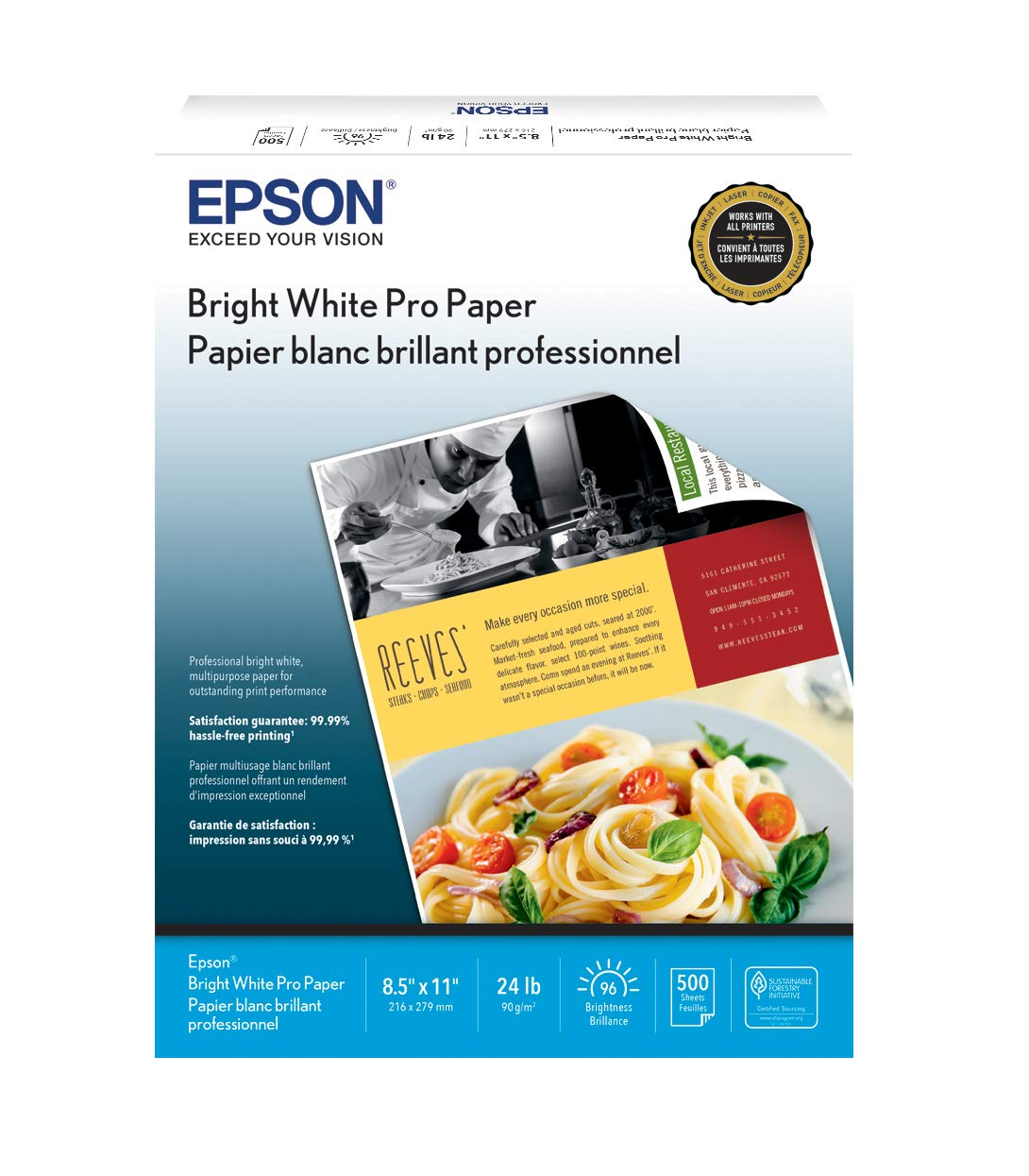"B00005MJS0 Epson Bright White Pro Paper - S041586-4, 8.5"" x 11"" (500 sheets) 61cKqwhoXjL"
