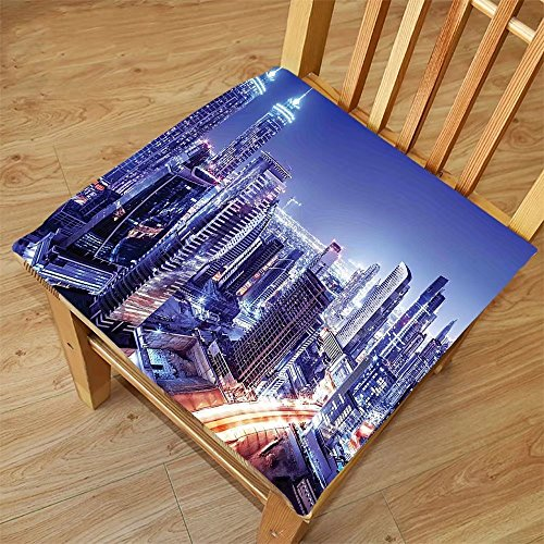 Nalahome Set of 2 Waterproof Cozy Seat Protector Cushion Scenery Decor Metropolitan City Life with Buildings Lights Town Roads Landscape Picture Multicolor Printing Size - Sunglasses Metropolitan