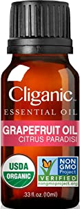 Cliganic Organic Pink Grapefruit Oil, 100% Pure Natural, for Aromatherapy | Non-GMO Verified