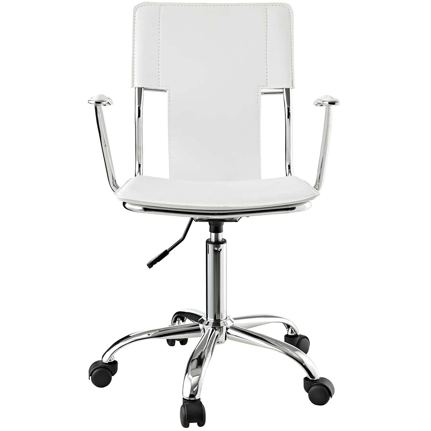 Amazon Modway Studio fice Chair in White Vinyl Kitchen