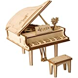 Rolife 3D Wooden Assembly Puzzle Wood Craft Kit 3D Puzzle Fun Creative DIY Arts and Crafts Piano Model Brain Teaser Assembly Puzzle Model Toy for Kids and Adults Best Birthday